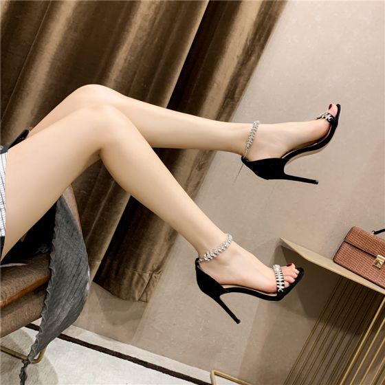 Sexy Schwarz Abend Sandalen Damen 2020 Strass Knöchelriemen 10 cm Stilettos Peeptoes Sandaletten