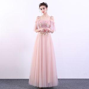 Elegante Pink Ballkleider 2019 A Linie Spaghettiträger Spitze Blumen Perle Kurze Ärmel Rückenfreies Lange Festliche Kleider