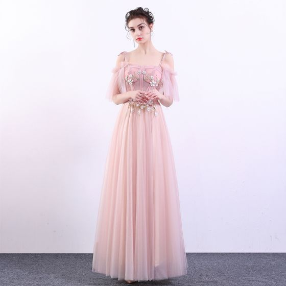 Elegante Pink Ballkleider 2019 A Linie Spaghettiträger Spitze Blumen Perle  Kurze Ärmel Rückenfreies Lange Festliche Kleider 194ba91527