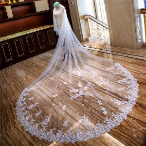 Luxury / Gorgeous White Royal Train Wedding 2018 Tulle Appliques Beading Sequins Wedding Veils