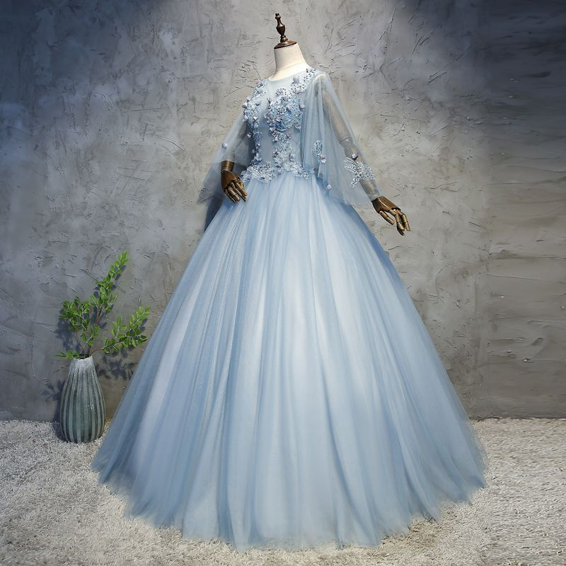 Chic / Beautiful Sky Blue Prom Dresses 2018 Ball Gown Appliques Pearl Scoop Neck Backless Long Sleeve Floor-Length / Long Formal Dresses