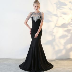Modern / Fashion Black Evening Dresses  2017 Trumpet / Mermaid U-Neck Backless Beading Rhinestone Evening Party Formal Dresses