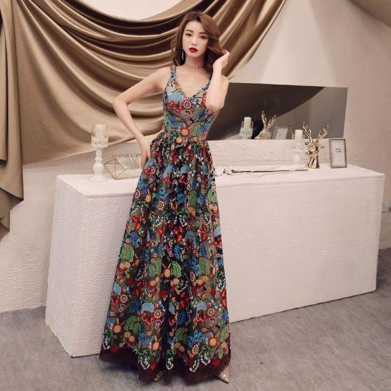 Farbig Champagner Blumen Ballkleider 2019 A Linie Schultern Ärmellos Applikationen Spitze Lange Rüschen Rückenfreies Festliche Kleider