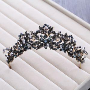 Vintage / Retro Baroque Black Tiara 2018 Metal Crystal Rhinestone Accessories