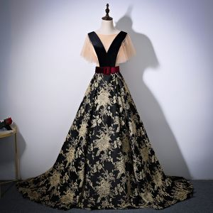 Elegant Black Gold Prom Dresses 2017 A-Line / Princess Scoop Neck Short Sleeve Printing Flower Satin Sash Chapel Train Backless Formal Dresses