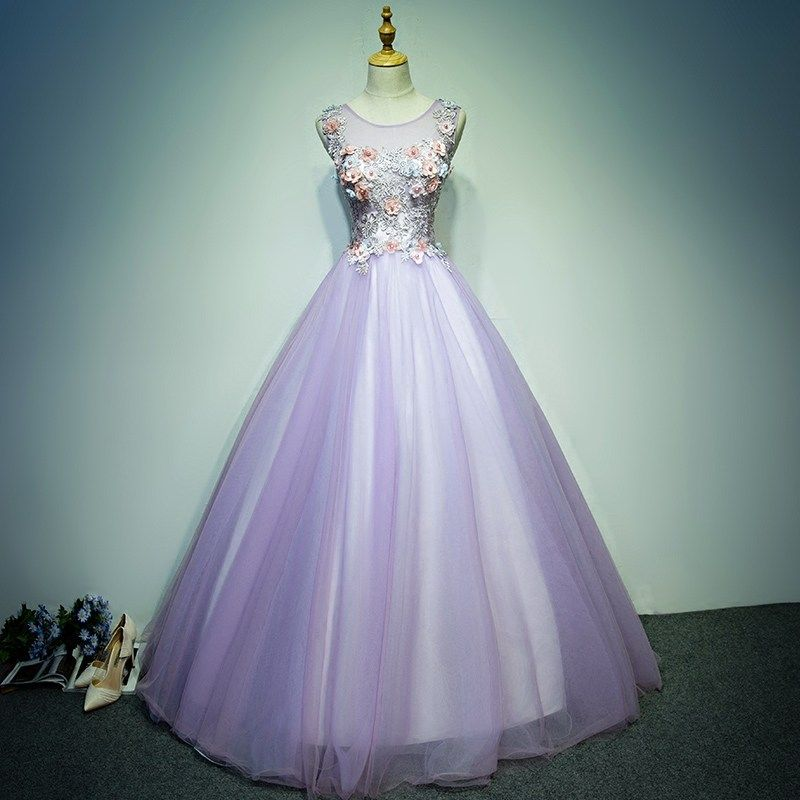 Affordable Prom Dresses 2017 Lace Flower Appliques Pearl Sleeveless Scoop Neck Backless Floor-Length / Long Lilac Prom Ball Gown