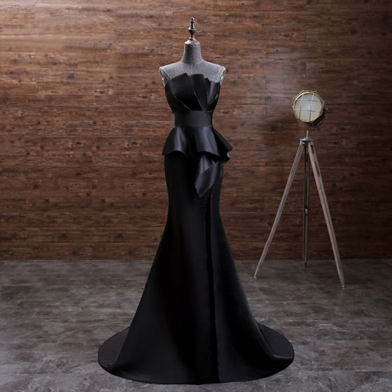 Elegant Solid Color Black Evening Dresses  2019 Trumpet / Mermaid Strapless Sleeveless Backless Court Train Formal Dresses
