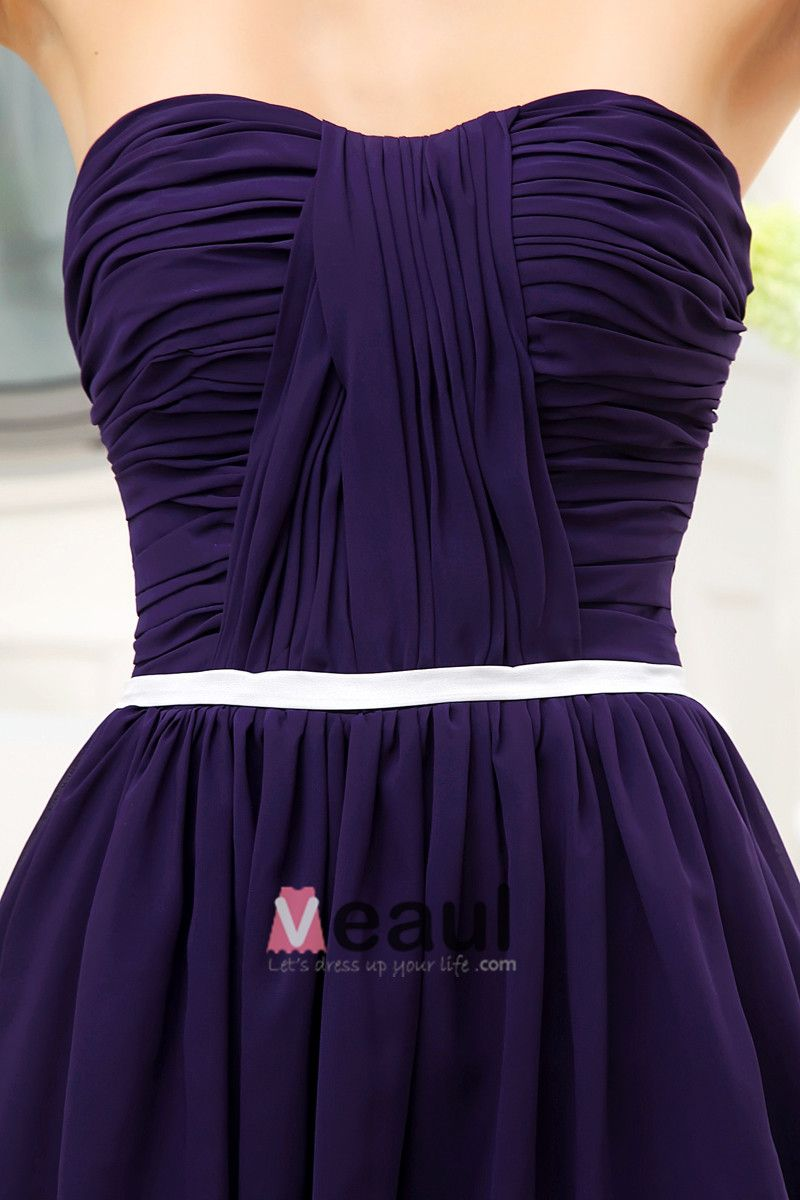 Chiffon Silk Sweetheart Knee Length Bridesmaid Dresses