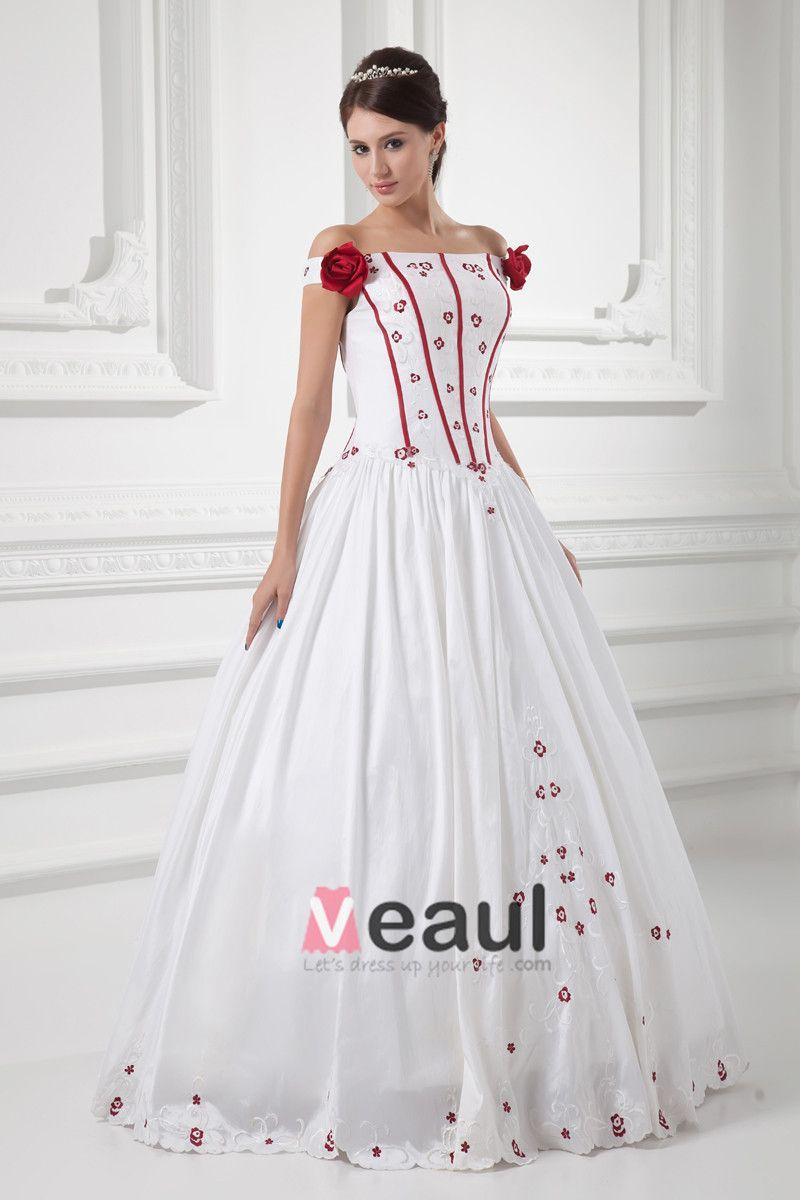 Satin Bestickt Off-the-schulter Bodenlangen Ballkleid Hochzeitskleid