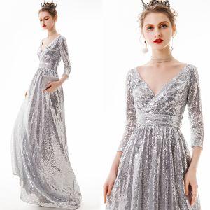 Niedrogie Srebrny Cekiny Sukienki Wieczorowe 2020 Princessa V-Szyja 3/4 Rękawy Długie Bez Pleców Sukienki Wizytowe