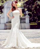 Satin Lace Beading Flower Ruffle Strapless Court Train Mermaid Wedding Dress