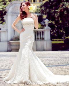 Satin Lace Beading Flower Ruffle Strapless Court Train Mermaid Wedding Dress