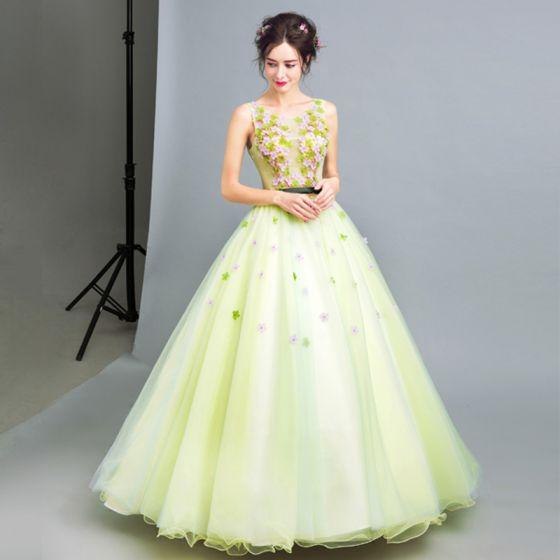 Chic / Beautiful 2017 Green Prom Dresses U-Neck Lace Appliques Backless A-Line / Princess Evening Dresses