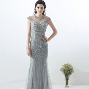 Sparkly Grey Evening Dresses  2018 Trumpet / Mermaid Handmade  Beading Crystal Pearl Rhinestone Sequins Scoop Neck Sleeveless Sweep Train Formal Dresses