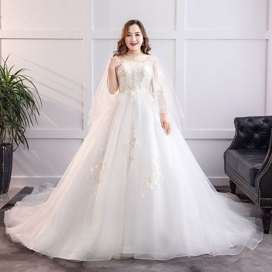 Modern / Fashion White Plus Size Ball Gown Wedding Dresses 2019 Lace Tulle Appliques Backless Beading Sequins Strapless Chapel Train Wedding