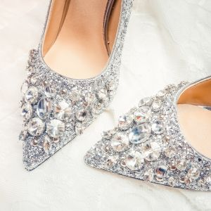 Sparkly Silver Wedding Shoes 2020 Leather Rhinestone Sequins 10 cm Stiletto Heels Pointed Toe Wedding Pumps