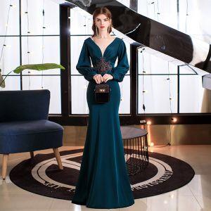 Sexy Blekk Blå Selskapskjoler 2021 Trompet / Havfrue Dyp v-hals Puffy Langermede Beading Lange Ryggløse Formelle Kjoler