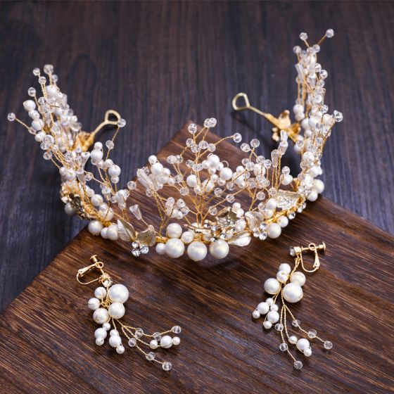 Chic / Beautiful Gold Tiara Earrings 2019 Metal Crystal Pearl Rhinestone Accessories