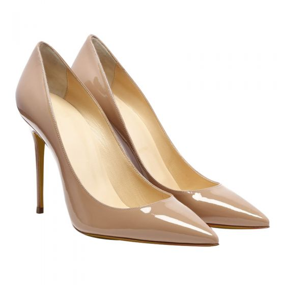 Chic / Beautiful Beige Office OL Leather Pumps 2020 Patent Leather 12 cm Stiletto Heels Pointed Toe Pumps