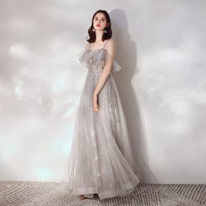 Illusion Grey Evening Dresses  2019 A-Line / Princess Spaghetti Straps Sleeveless Beading Glitter Tulle Sweep Train Ruffle Backless Formal Dresses