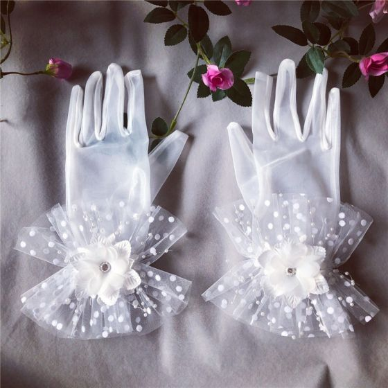 Fine Hvit Brudehansker 2020 Appliques Beading Perle Rhinestone Tyll Ball Bryllup Tilbehør