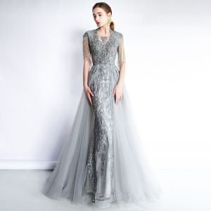 Luxury / Gorgeous Grey Evening Dresses  2019 Trumpet / Mermaid Square Neckline Handmade  Beading Tassel Crystal Lace Flower Sleeveless Sweep Train Formal Dresses