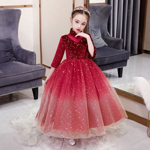 Chic / Beautiful Red Birthday Flower Girl Dresses 2020 Ball Gown See-through High Neck 1/2 Sleeves Star Sequins Floor-Length / Long Ruffle