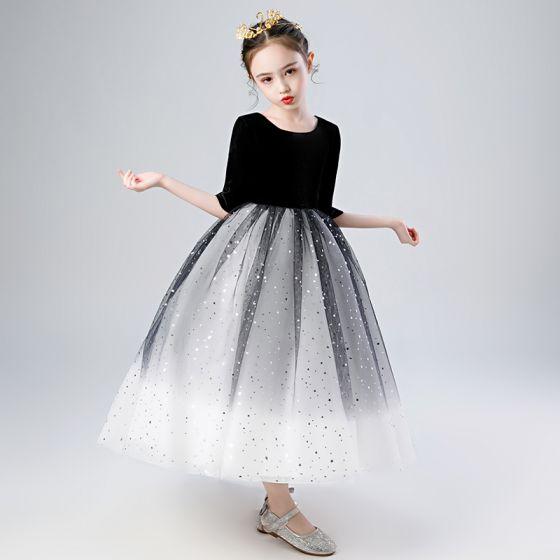 Elegante Zwarte Gradiëntkleur Witte Verjaardag Bloemenmeisjes Jurken 2020 Baljurk Ronde Hals 1/2 Mouwen Ster Pailletten Enkellange Ruche