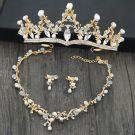 Chic / Beautiful Gold Tiara Earrings Necklace 2019 Metal Rhinestone Pearl Bridal Jewelry Wedding Accessories