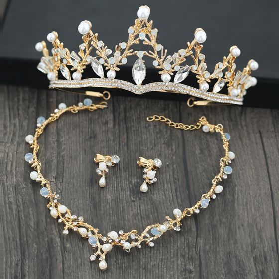Chic / Beautiful Gold Tiara Earrings Necklace 2019 Metal Rhinestone Pearl Bridal Jewelry Wedding Accessories