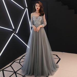 Elegant Grey Evening Dresses  2019 A-Line / Princess Spaghetti Straps Bow Lace Flower Appliques 3/4 Sleeve Backless Floor-Length / Long Formal Dresses