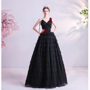 Chic Noire Volants Robe De Bal 2020 Princesse Bretelles Spaghetti Appliques Sans Manches Dos Nu Longue Robe De Ceremonie