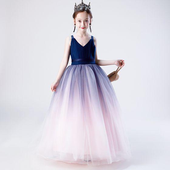 Fashion Navy Blue Gradient-Color Blushing Pink Birthday Flower Girl Dresses 2020 A-Line / Princess Shoulders V-Neck Sleeveless Backless Sash Floor-Length / Long Ruffle
