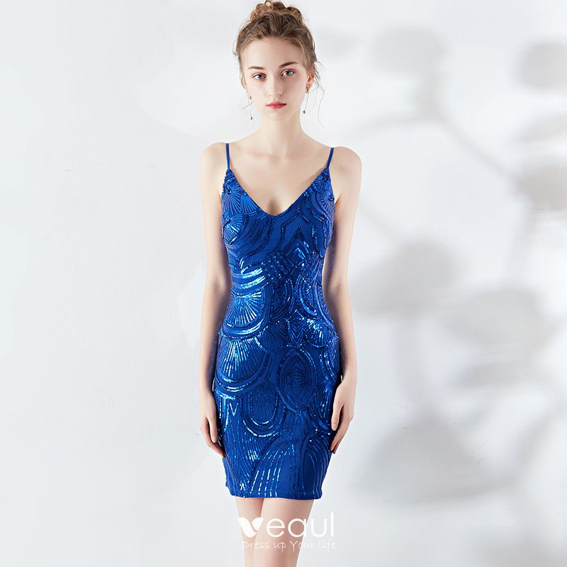 best selling good looking buy Sexy Solid Color Royal Blue Party Dresses 2019 Spaghetti Straps Sequins  Sleeveless Backless Short Formal Dresses