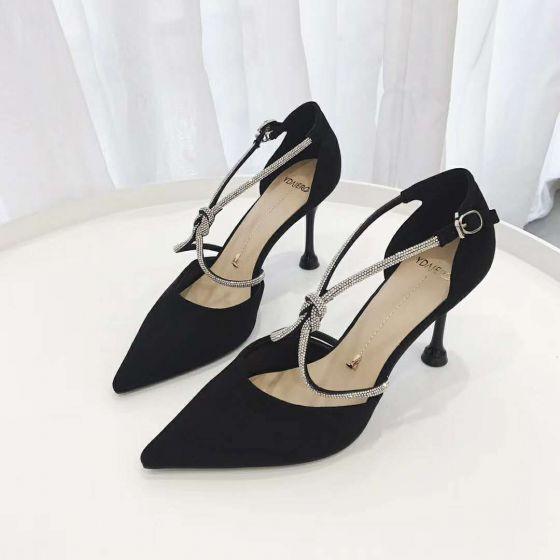 Mode Zwarte Straatkleding Sandalen Dames 2020 Rhinestone X-Strap 8 cm Naaldhakken / Stiletto Spitse Neus Sandalen