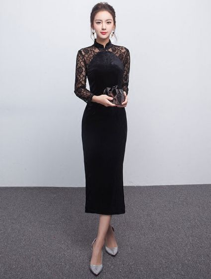 Elegant Black Evening Dress Long Lace Sleeves Fitted Suede Dress