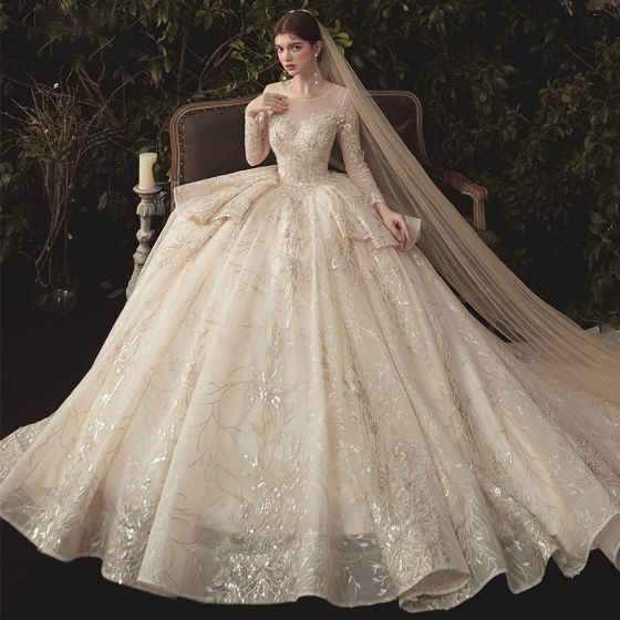 Charming Champagne See-through Wedding Dresses 2020 Ball Gown Scoop Neck Long Sleeve Backless Glitter Appliques Lace Court Train Ruffle