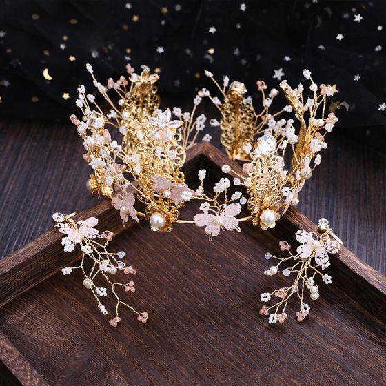 Chic / Beautiful Gold Butterfly Tiara Earrings 2019 Metal Crystal Rhinestone Accessories