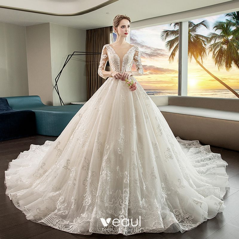 See Through Wedding Gown: Luxury / Gorgeous Ivory See-through Wedding Dresses 2019