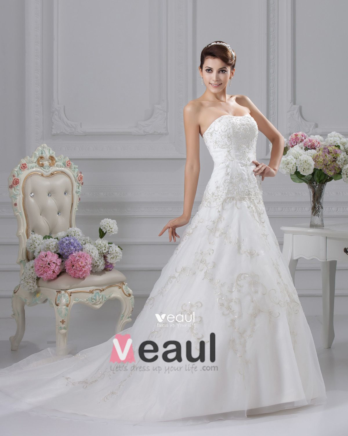 Elegant Embroidery Beading Strapless Floor Length Satin A Line Wedding Dress