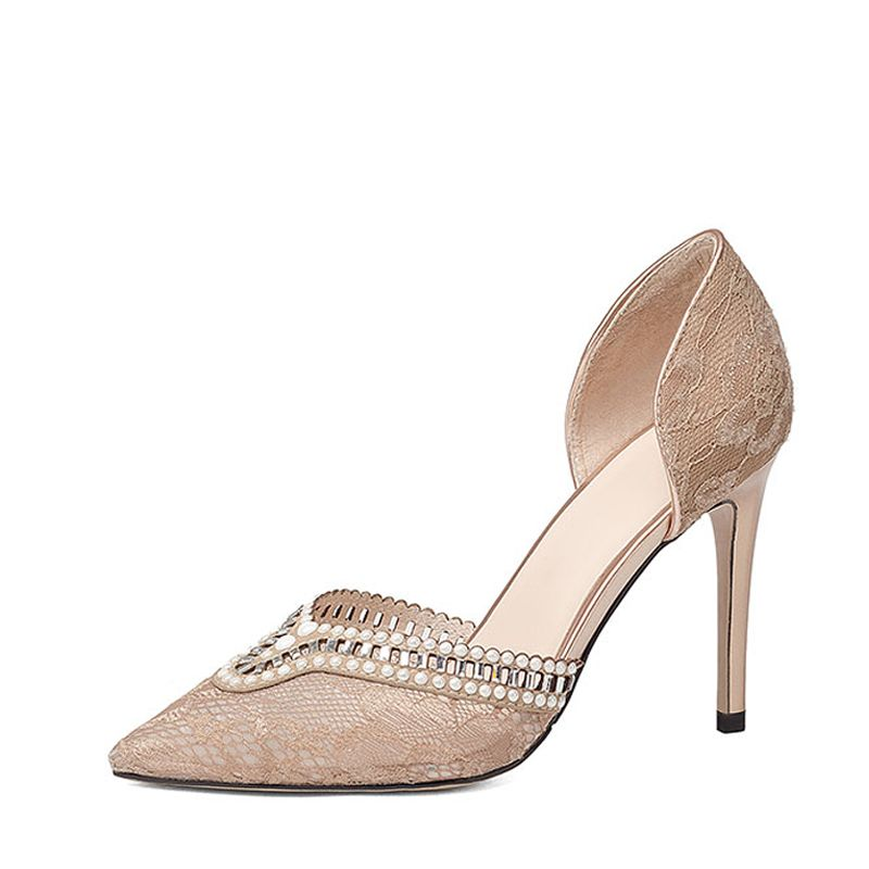 Elegant 2017 8 cm / 3 inch Sky Blue Casual Evening Party Office Lace Leatherette Apricot / Beige Summer Lace High Heels Stiletto Heels Pumps