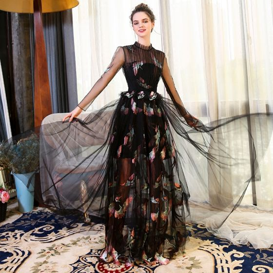 Chinese style Black Evening Dresses  2018 A-Line / Princess Embroidered See-through Scoop Neck Long Sleeve Floor-Length / Long Formal Dresses