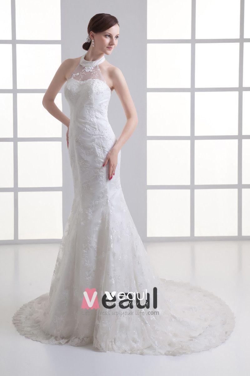 Tulle Applique Beading Jewel Court Train Mermaid Wedding Dress