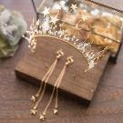Modern / Fashion Gold Bridal Jewelry 2017 Metal Star Beading Rhinestone Headpieces Wedding Prom Accessories