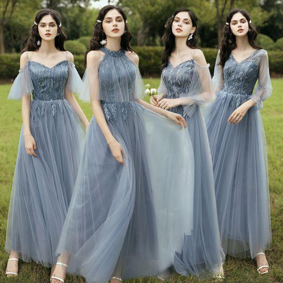 Erschwinglich Himmelblau Brautjungfernkleider 2020 A Linie Rückenfreies Blatt Applikationen Spitze Lange Rüschen