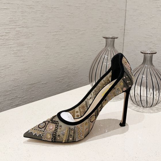 Classy Black Prom Embroidered Pumps 2020 Lace 9 cm Stiletto Heels Pointed Toe Pumps