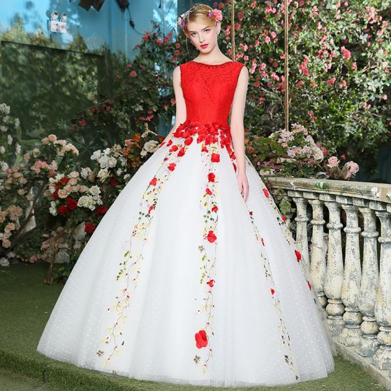 Chic / Beautiful Red Prom Dresses 2017 A-Line / Princess U-Neck Lace Appliques Crystal Backless Beading Prom Formal Dresses
