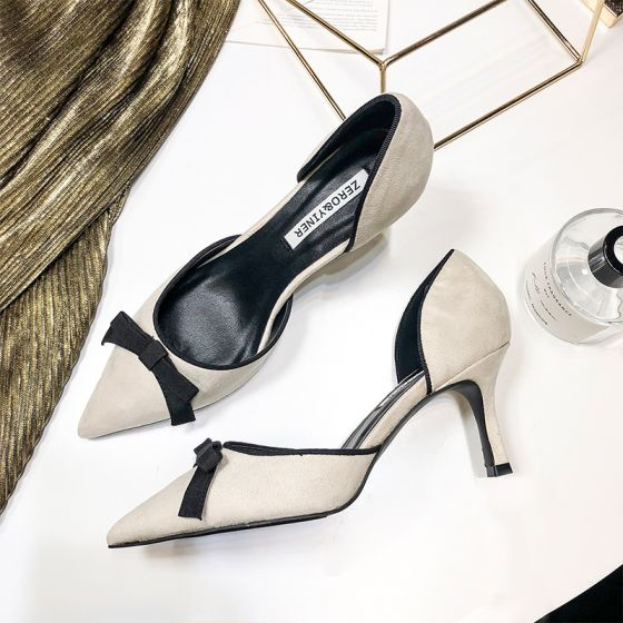 Chic / Beautiful Beige Womens Shoes 2018 Casual Leather Suede Bow 7 cm Stiletto Heels Pointed Toe High Heels