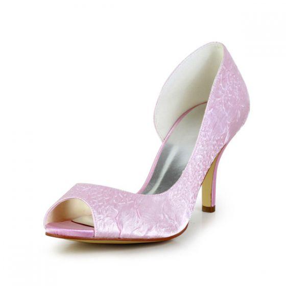 Elegant Pink Wedding Shoes Stiletto Heel Ruffle Satin Bridal Pumps
