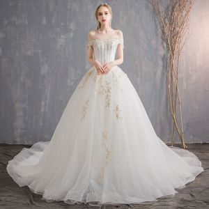 Affordable Ivory Wedding Dresses 2018 Ball Gown Lace Flower Sequins Pearl Off-The-Shoulder Backless Sleeveless Cathedral Train Wedding